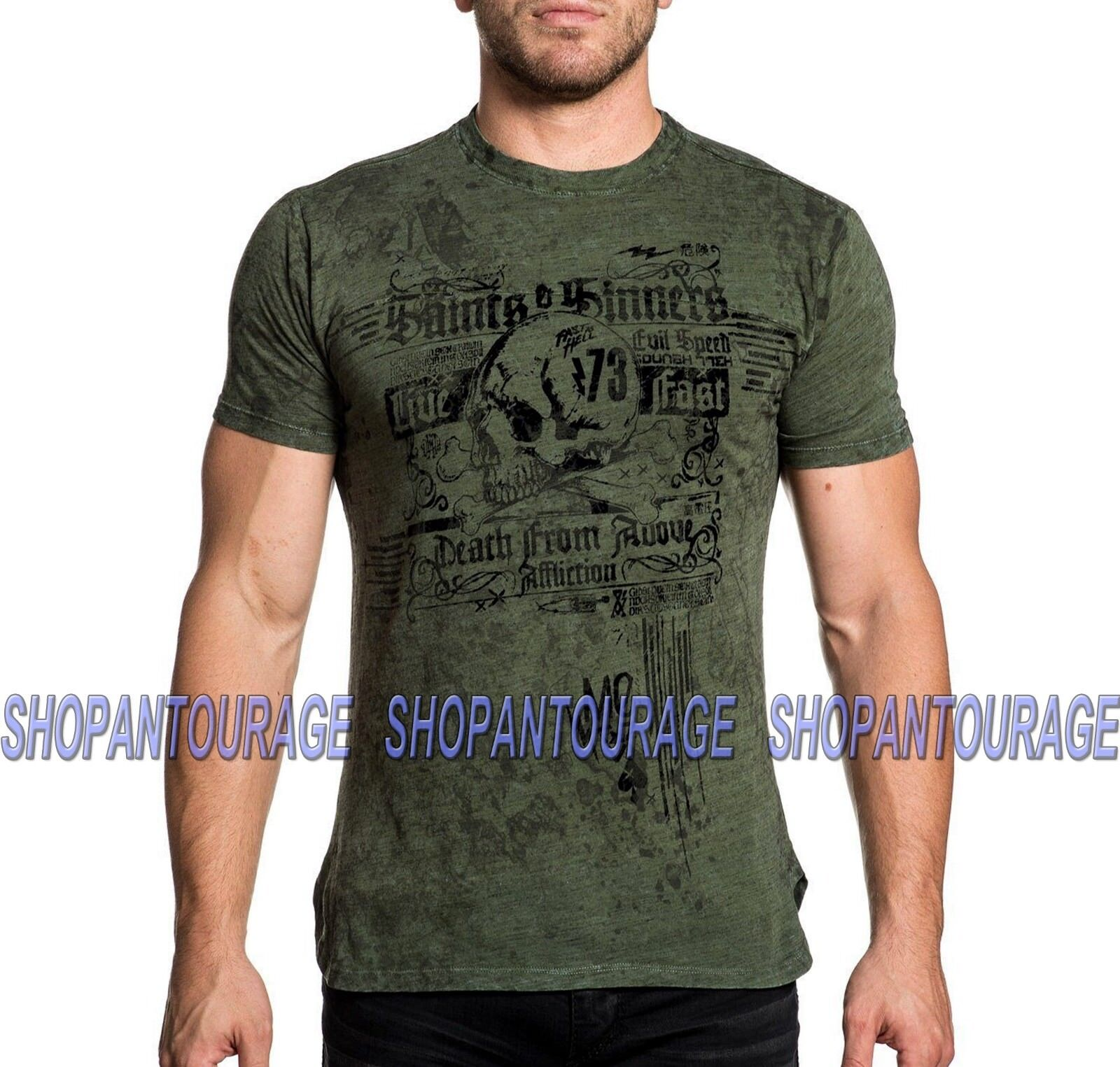 AFFLICTION 73 Saint A18556 Men`s New Military Grün T-shirt