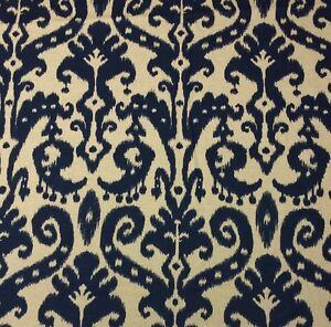 Image Is Loading BALLARD DESIGNS VENICE IKAT NAVY BLUE CREAM DESIGNER