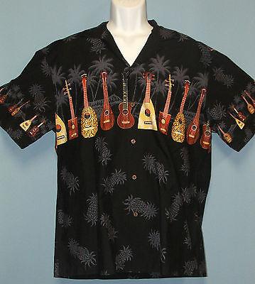 KY'S Ukuleles & Pineapples Hawaiian Aloha Camp Shirt 100% Cotton Men's Large