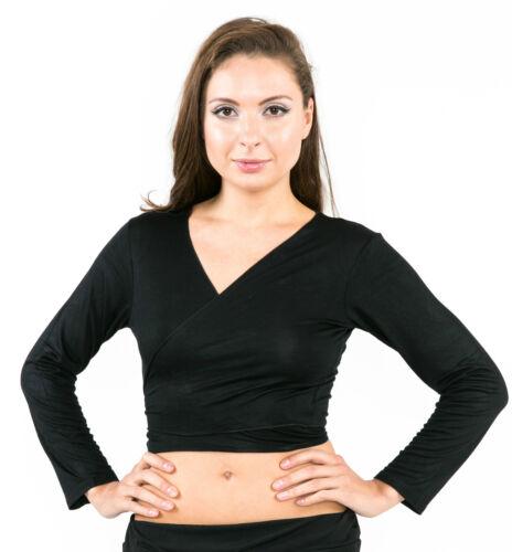 Long Sleeved Cotton Belly Dance Yoga Pilates Wrap Bolero Exercise Top NEW UK