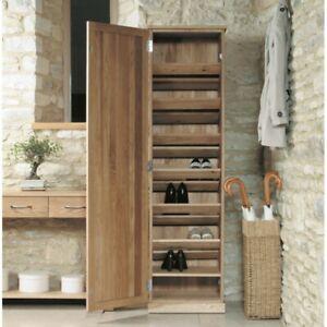 Fusion Solid Oak Wooden Hallway Furniture Tall Shoe Rack Cupboard ...