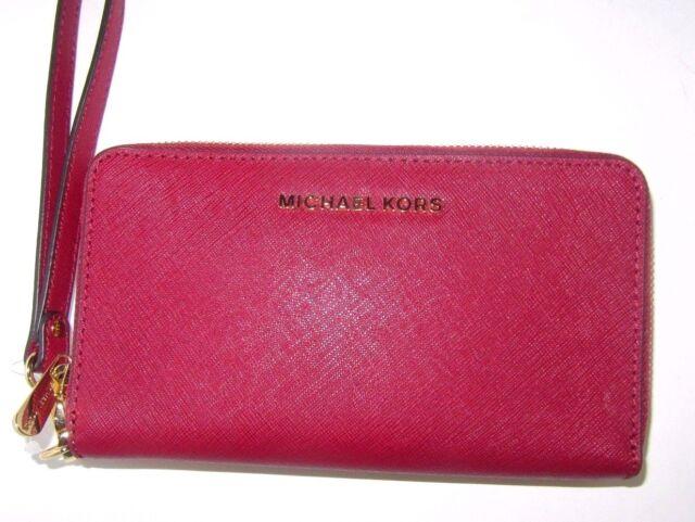 8a9a4bd5b8e9 Michael Kors Jet Set Large Travel Flat Phone Case Cherry Red Leather Wallet   108