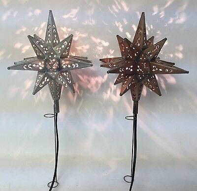 Tin Moravian Star Light Tree Topper, 2 Finish Options