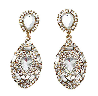 Hot New Style Luxury Party Crystal Water Drop Dangle Statement Stud Earring