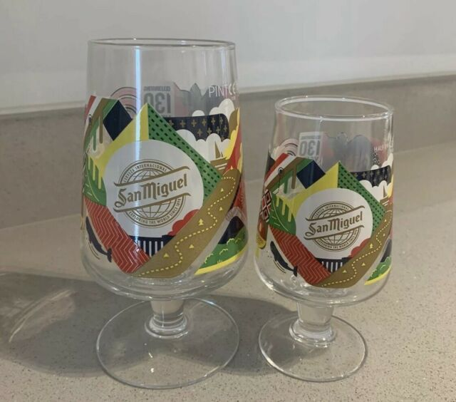 SAN MIGUEL Official Half Pint Toughened Chalice Glass /& 5 Beer Mats