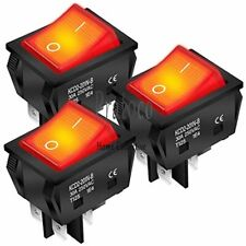 Daiertek 3pcs 30a 250v Kcd2 Kcd4 Rocker Switch 4 Pin Dpst Red Lighted Toggle On