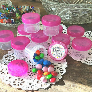24 Jars 1 ounce Containers container screw on lids Hot PINK Cap DecoJars 4304
