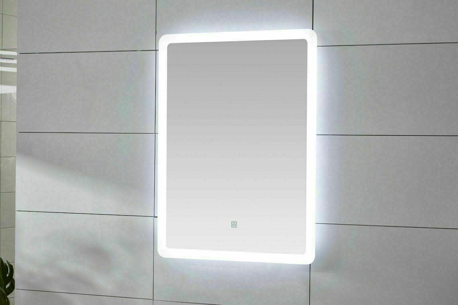 Moderne DEL illuminé Miroir de salle de bain IP44 Désembuage Pad tactile Capteur Vendeur Britannique