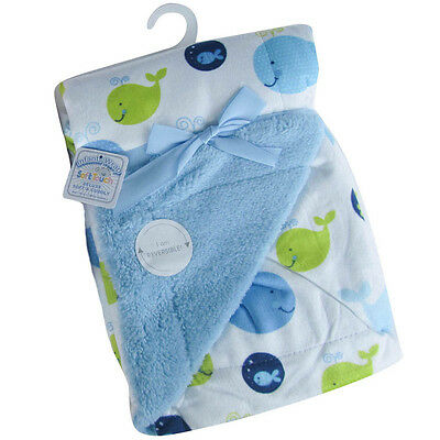 Baby Boys Super Soft Reversible Minky Wrap Blanket Whales Design by Soft Touch