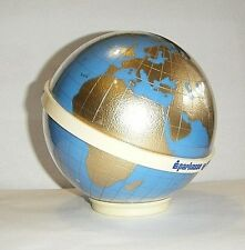 GOLD&BLUE VTG EXPO 1967 LUCITE EARTH GLOBE STILL COIN BANK FINLAND MK TUOTE