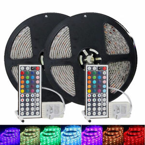 2-PCS-5M-16-4ft-5050-RGB-SMD-Waterproof-LED-Strip-Light-150-44-Key-Remote-DC-12V