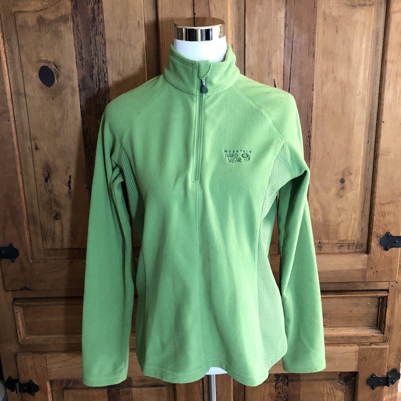 Women's Mountain Hardwear Fleece Quarter Zip Green Pullover Sweatershirt M