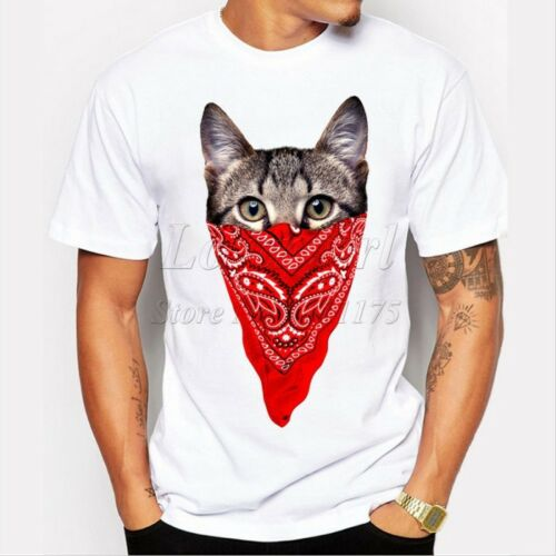 Men/'s funny short sleeve gangster cat printed t-shirt O-neck cool tops T039