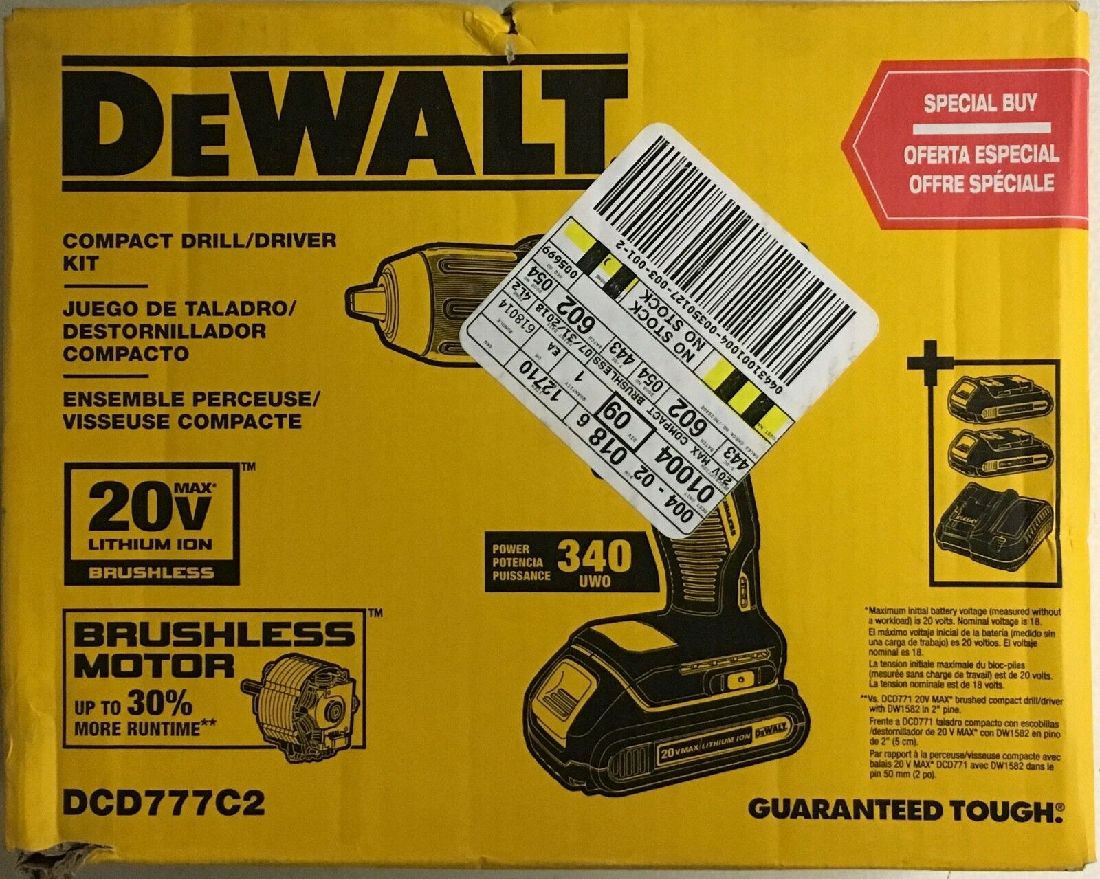NEW DeWalt DCD777C2 20v Compact Brushless Drill/Driver KIT Max Lithium Ion