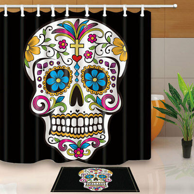 Magnolia and skull Shower Curtain Bathroom Waterproof Fabric /& 12hooks 71*71inch