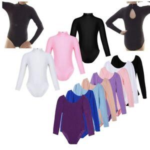cba00917d Girl Gymnastics Ballet Dance Wear Leotard Mock Neck Long Sleeve ...