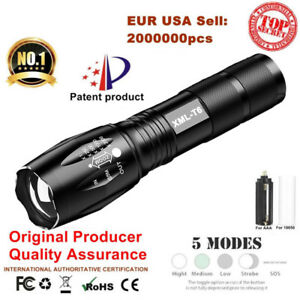 50000LM-LED-Tactical-Flashlight-Torch-XM-L-T6-5-modes-lamp-by-18650-AAA-battery