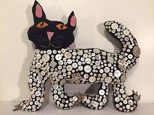 Vintage Handmade Shell Button Covered Cat Shaped Throw Pillow Blue Wool Folk Art