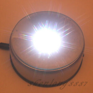 4-034-NEW-7-LED-White-Light-Unique-Rotating-Crystal-Display-Base-Stand-DC-Adapter