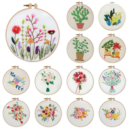 30 X 30cm For Beginner DIY Flowers Potted Plant Embroidery Cross Stitch Handwork