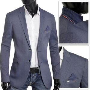 Men-039-s-Classic-Design-Blazer-Jacket-Blue-Casual-Contrast-Finish-Slim-Soft-Cotton