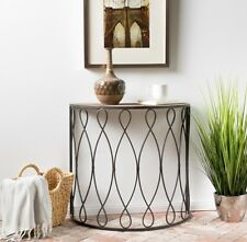 Half Moon Table Small Console Industrial Metal Wood Foyer Hall Entryway  Accent