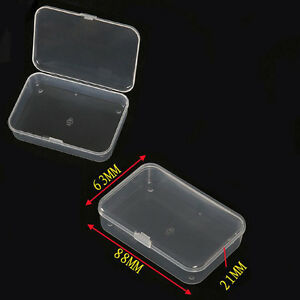 2x-New-Plastic-Clear-Transparent-With-Lid-Collection-Container-Case-Storage-Box