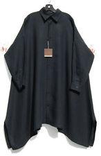 "NWT Eskandar BLACK Linen A-line Extra Long 45"" Classic Collar Tunic Top 1 $995"