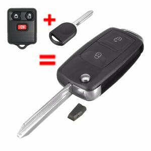 3-Buttons-Flip-Uncut-Key-Entry-Remote-Control-Fob-amp-Transponder-Chip-63-For-Ford