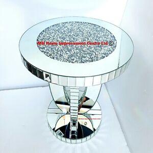 Details zu Diamant Zerdrücken Kristall Glitzer Silber Verspiegelt Groß Rund Ende Side Tisch