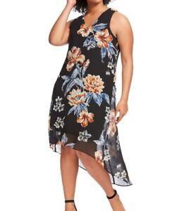 Karen-Kane-Sleeveless-Hi-Lo-Hem-Detail-Sketch-Rose-Chiffon-Shift-Dress-Size-1X