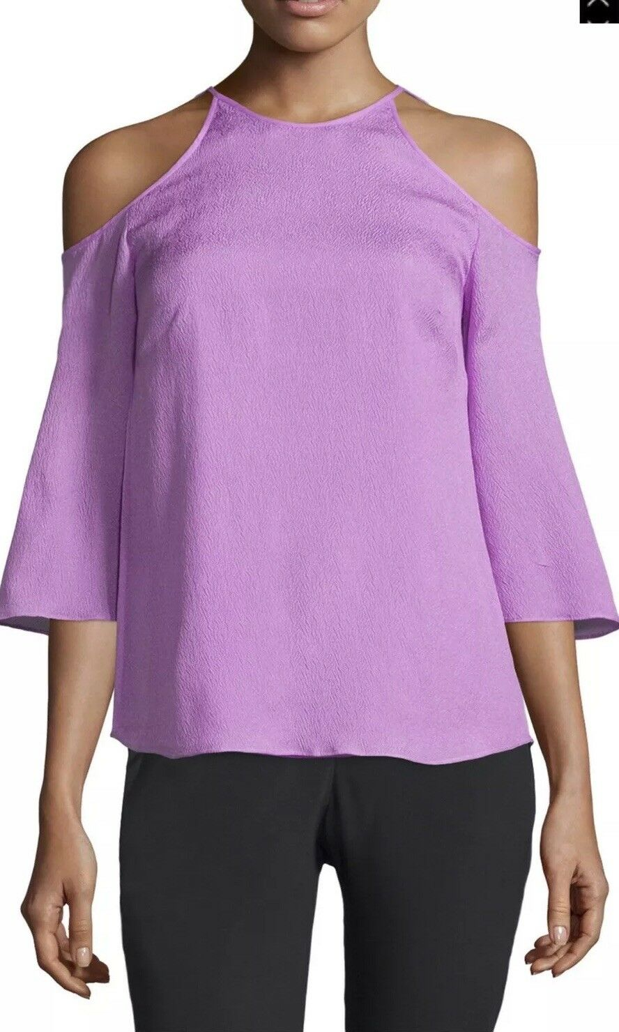 NWT damen Halston Heritage SILK 3 4 Sleeve Cold Shoulder Blouse Top Sz 12