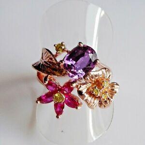 Handarbeit Lila Saphir Navette Rubin Blüten Ring 925 Silber Rotgold 18,1 mm 57