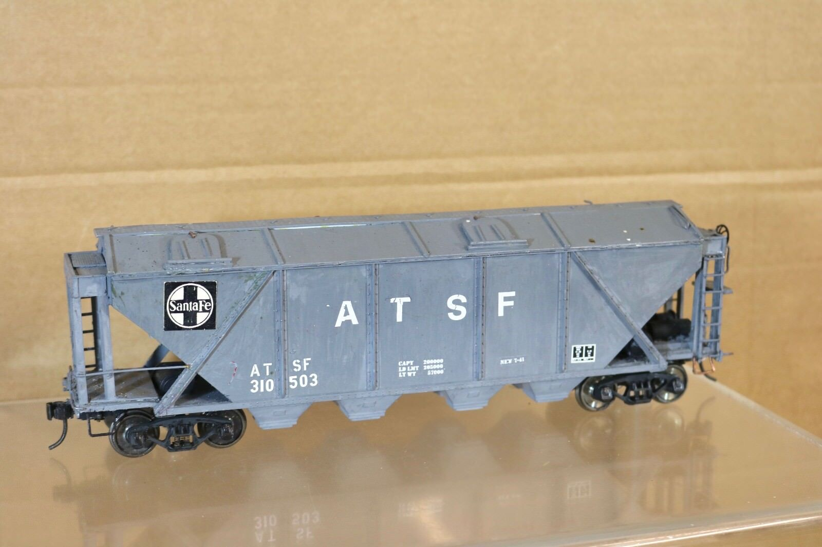 ATLAS O SCALE KIT BUILT SANTA FE AT&SF 4 BAY COVERED HOPPER CAR WAGON 310503 nn