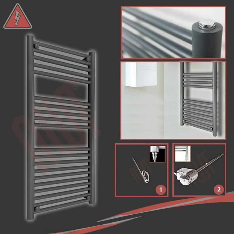 500mm(w) x 1200mm(h) Pre-filled Electric  Pluto  Anthracite Towel Rail - 300W