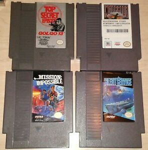 4-Game-lot-Nintendo-NES-Golgo-13-Infiltrator-Mission-Impossible-Silent-Service