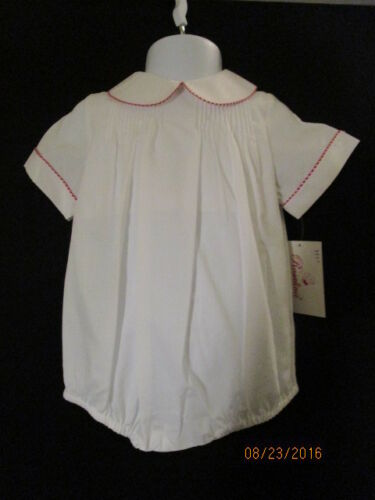 WHITE PLEATED BUBBLE W// TINY RED GINGHAM PIPING ON COLLAR /& SLEEVES ROSALINA