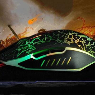 7 LED Backlit Gaming Mouse USB Light Up 3200DPI Optical Mice Laptop PC 6 Buttons