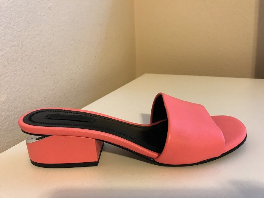 $450+ Bright ALEXANDER WANG LOU SLIDE SANDAL Bright $450+ PINK  Leder low heel 37.5 - 7.5 513e76