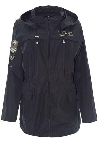 Ladies Mac Military Badge Hooded Waterproof Showerproof Raincoat Jacket 8-24