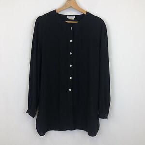 Jaeger Black Collarless Blouse Shirt Button Up Long Sleeve M/L