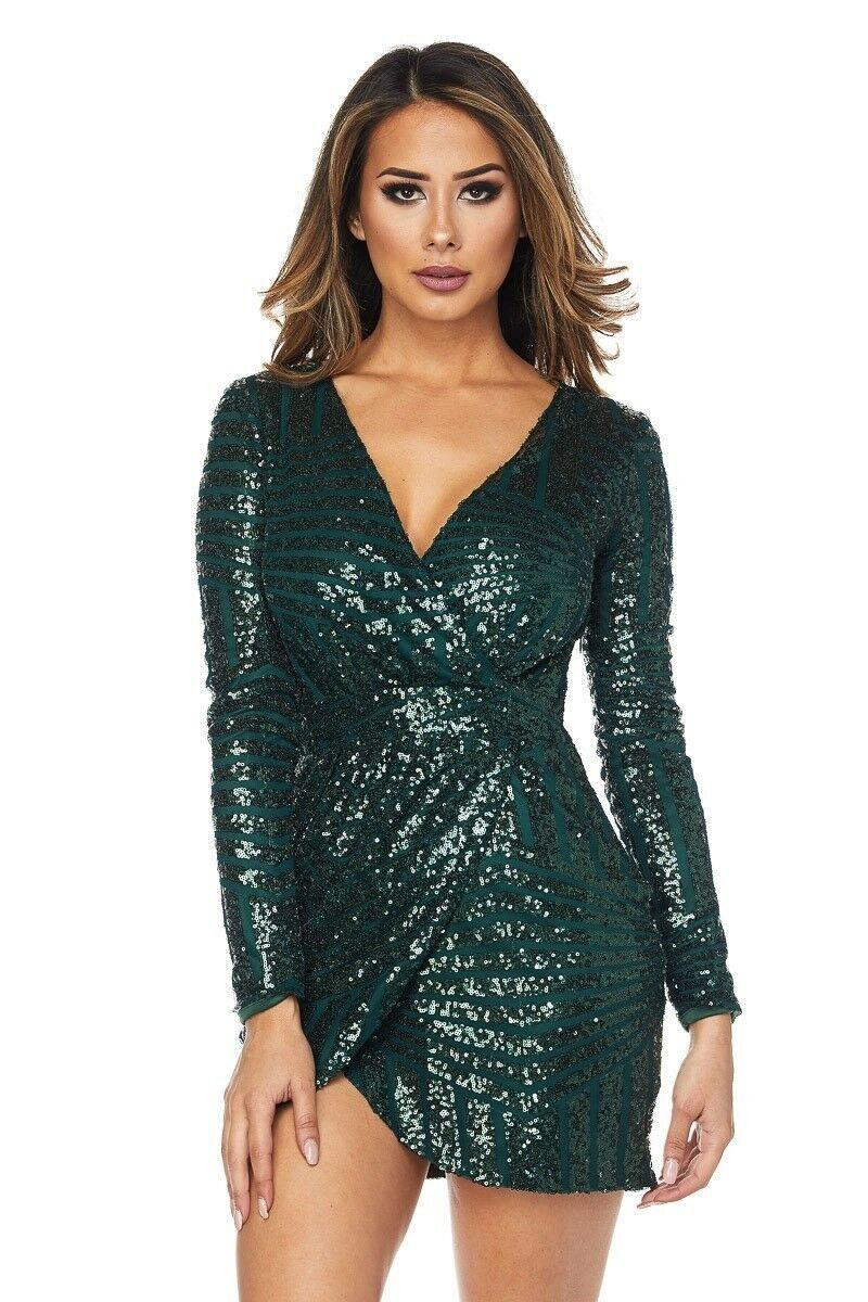 Long Sleeve Short Dress With Sequin Detailing