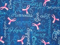 Breast Cancer Words Encouragement Blue Quilt Fabric Timeless Treasures Fq / Bty
