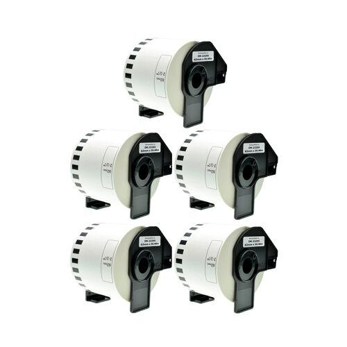 5x Etiketten Endlos 62mm x 30,48m Weiß für Brother P-Touch QL560 DK22205