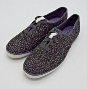 293d9847fa4 A4579 Women s Keds CHAMPION LEOPARD Black   Gray Casual Sneakers 7.5 ...