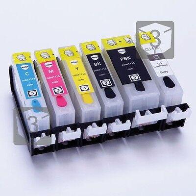 6 x EMPTY Refillable Ink cartridges PGI-520 CLI-521 for Canon Pixma MP980 MP990