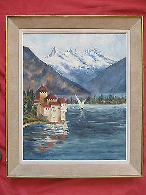 Belle huile 1960 signée A.M ROUSSEAU le château de CHATILLON