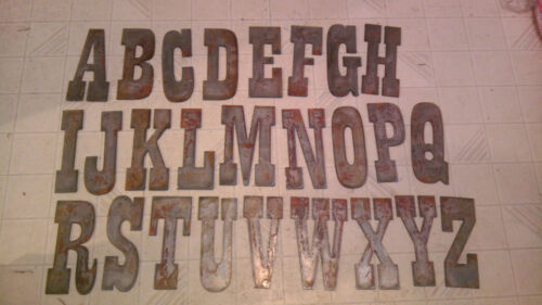 8 inch Alphabet PER LETTER Rough Rusty Metal Vintage Western Style Stencil