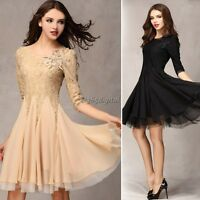 Womens Sexy Crew Neck Slim 3/4 Sleeve Cocktail Lace Floral Dress UK Size 6-18 DI