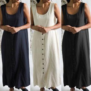 ZANZEA-Women-Sleeveless-O-Neck-Button-Down-Long-Dress-Cotton-Kaftan-Maxi-Dresses